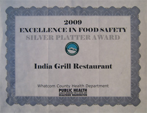Indian Restaurant | Excellence in Food Safety Award