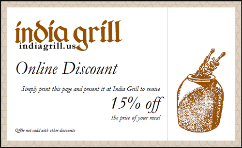 India Grill 15% off Coupon